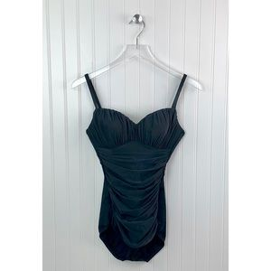 Miraclesuit • Black Ruched Swimsuit • S